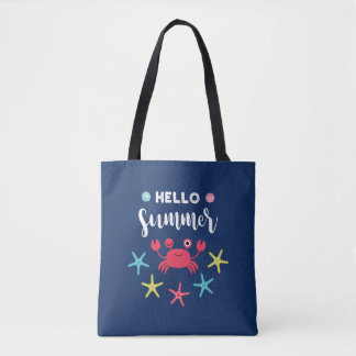 Navy Blue Hello Summer Happy Crab Tote Bag