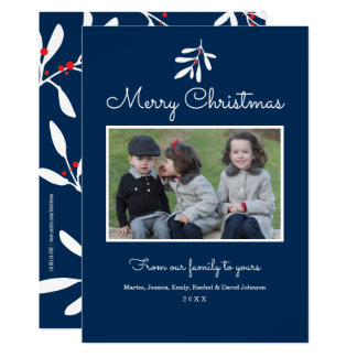 Navy Blue Holly & Berries Merry Christmas 2017 Card