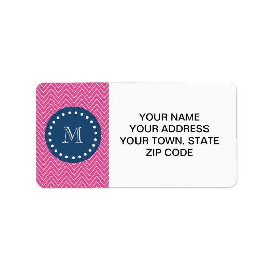 Navy Blue, Hot Pink Chevron Pattern, Your Monogram Label