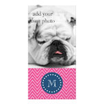 Navy Blue, Hot Pink Chevron Pattern, Your Monogram Customised Photo Card