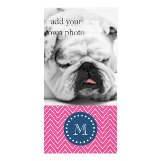 Navy Blue, Hot Pink Chevron Pattern, Your Monogram Photo Card Template