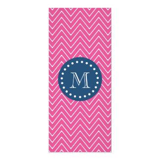 Navy Blue, Hot Pink Chevron | Your Monogram 10 Cm X 24 Cm Invitation Card