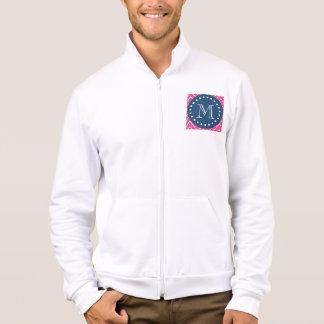 Navy Blue, Hot Pink Chevron   Your Monogram Jacket