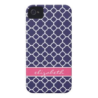 Navy Blue & Hot Pink Quatrefoil Custom Monogram iPhone 4 Case-Mate Case