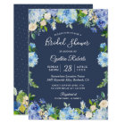 Navy Blue Hydrangea Floral Gorgeous Bridal Shower Card