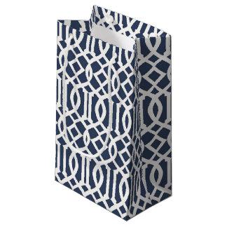 Navy Blue Imperial Trellis Geometric Pattern Small Gift Bag