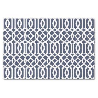 Navy Blue Imperial Trellis Geometric Pattern Tissue Paper