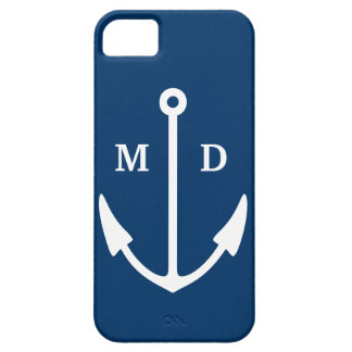 Navy blue iPhone case with boat anchor monogram iPhone 5 Cases