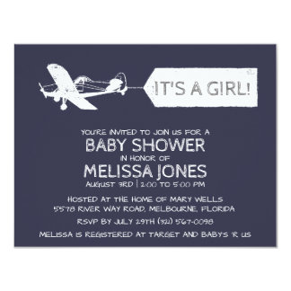 Navy Blue It's A Girl Airplane Banner Baby 11 Cm X 14 Cm Invitation Card