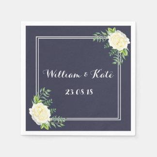 Navy blue Ivory Chic Rose wedding napkins Paper Napkin