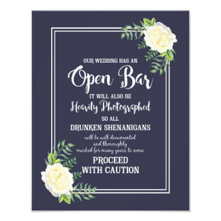 Navy blue Ivory chic Rose wedding party OPEN BAR Photograph