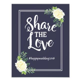 Navy blue Ivory Rose social media hashtag Photo Print