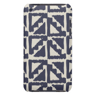 Navy Blue Ivory Tribal Print Ikat Triangle Pattern iPod Touch Cover