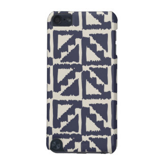 Navy Blue Ivory Tribal Print Ikat Triangle Pattern iPod Touch (5th Generation) Cases