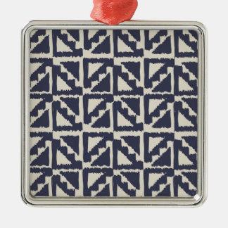 Navy Blue Ivory Tribal Print Ikat Triangle Pattern Christmas Tree Ornament
