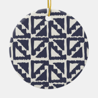 Navy Blue Ivory Tribal Print Ikat Triangle Pattern Ornaments