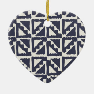 Navy Blue Ivory Tribal Print Ikat Triangle Pattern Christmas Ornament