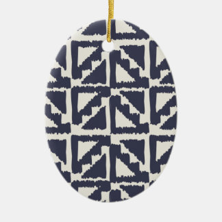 Navy Blue Ivory Tribal Print Ikat Triangle Pattern Christmas Ornaments