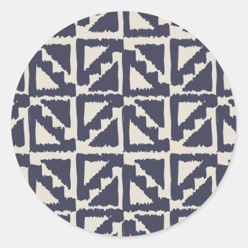 Navy Blue Ivory Tribal Print Ikat Triangle Pattern Stickers