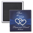 Navy Blue Joined Hearts Save the Date Magnet