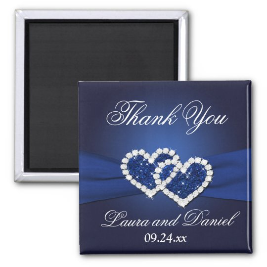 Navy Blue Joined Hearts Wedding Favour Magnet