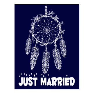 Navy Blue Just Married Dream Catcher Wedding Postcard
