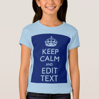 Navy Blue Keep Calm And Edit Text Personalized T Shirts