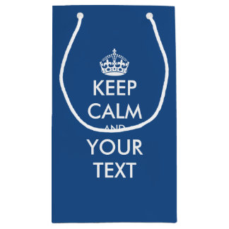 Navy blue Keep calm your text wedding favor bag
