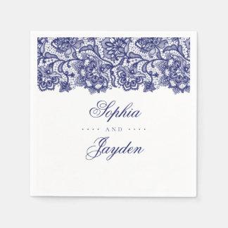 Navy Blue Lace Elegant Wedding Disposable Napkin
