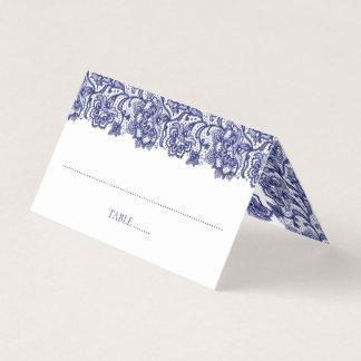 Navy Blue Lace Elegant White Wedding Place Card