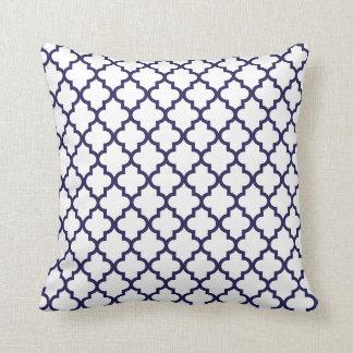Navy Blue Lattice Pattern Pillow