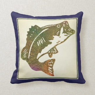 Navy Blue Leaping Trout Fishing Cushion