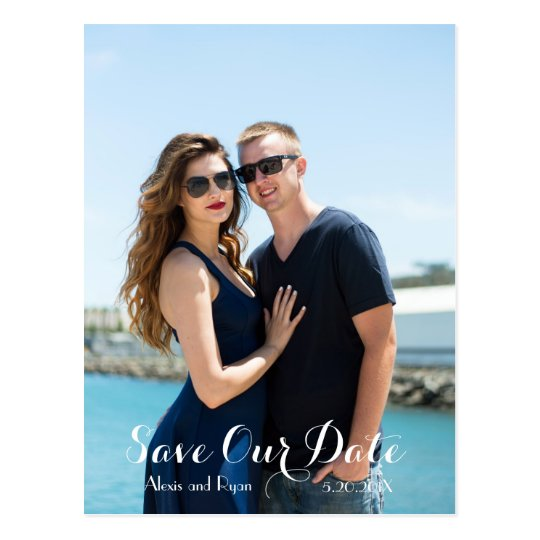 Navy Blue & Lemon Yellow SAVE THE DATE Photo Postcard