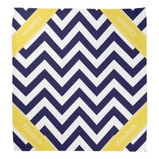 Navy Blue Lg Chevron Pineapple Name Monogram Head Kerchief