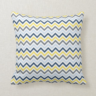 Navy Blue, Light Blue, Yellow, and Gray Chevron Cushion