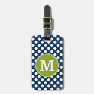 Navy Blue & Lime Green Polka Dots Custom Monogram Luggage Tag
