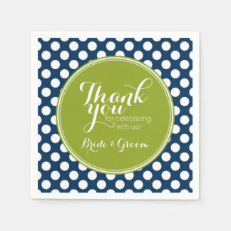 Navy Blue & Lime Green Polka Dots Custom Monogram Paper Serviettes