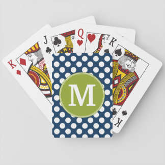 Navy Blue & Lime Green Polka Dots Custom Monogram Playing Cards