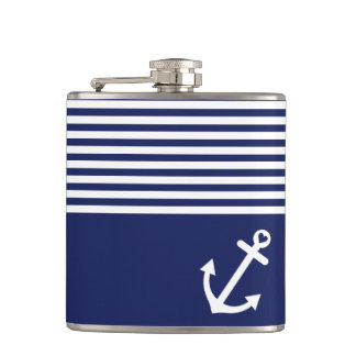 Navy Blue Love Anchor Nautical Hip Flask