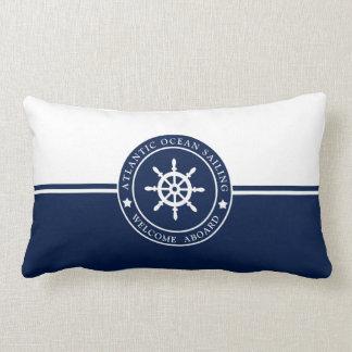 Navy Blue Lumbar Pillow with Ships Wheel Label
