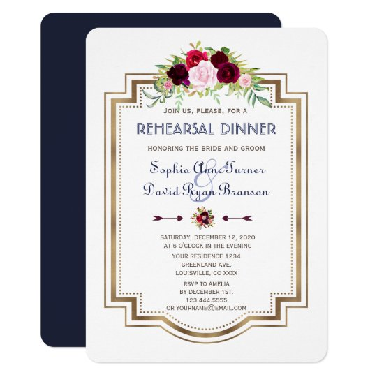Navy Blue Marsala Floral Fall Rehearsal Dinner Card