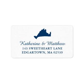 Navy Blue Marthas Vineyard Map Wedding Label