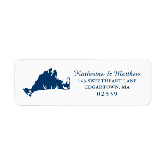 Navy Blue Marthas Vineyard Map Wedding Return Address Label