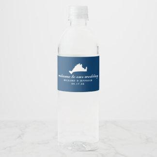 Navy Blue Marthas Vineyard Map Wedding Water Bottle Label