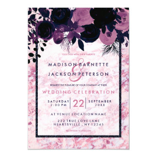Navy Blue & Mauve Pink Marble Wedding Invitations