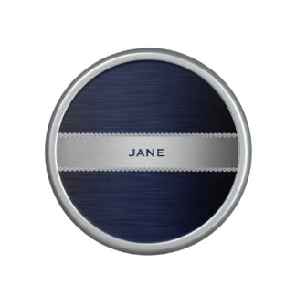 navy blue metal with diamonds and text bluetooth speaker