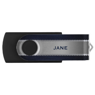 navy blue metal with diamonds and text swivel USB 3.0 flash drive
