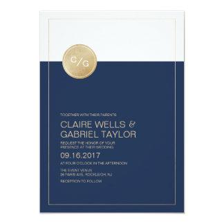 Navy blue minimalist modern wedding invitation
