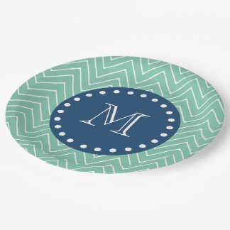 Navy Blue, Mint Green Chevron Pattern | Your Monog 9 Inch Paper Plate