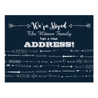 Navy Blue Modern Arrows Doodle Moving Announcement Postcard